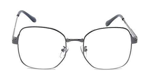 ff3b3d87d40 Amazon.com  ALWAYSUV Classic Metal Square Full Frame PC Clear Oversized Lens  Retro Glasses  Clothing
