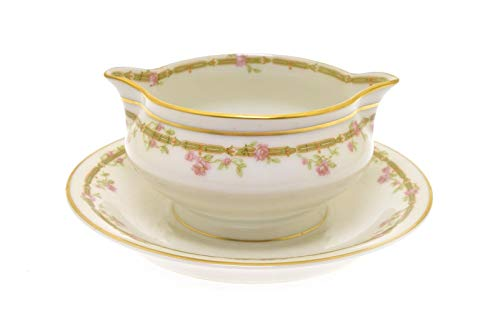 Theodore Haviland Limoges France Pink Roses Green Link Gold 7.5