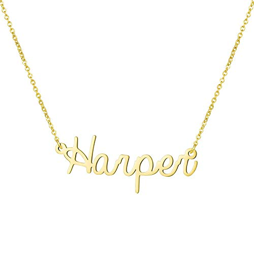Yiyang Name Gifts for Girls 18K Gold Plated Stainless Steel Personalized Necklaces Birthday Jewelry for Women Harper]()