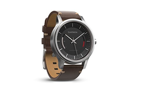 Garmin 010-01597-20 Vivomove Premium - Ww, Stainless Steel with Leather Band by Garmin