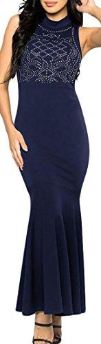 Bodycon Maniche Collare Lungo Partito Moda Alla Domple Paillettes Reale Blu Basamento Womens Abito YvaX8Rwqv