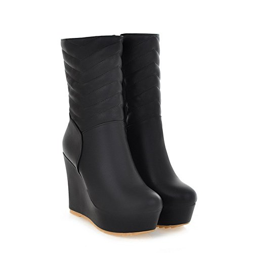 Toe PU B High 5 Round Material Solid Boots Platform Heels Soft Black and US PU Closed 4 Womens M Low Wege AmoonyFashion with w0gtqt