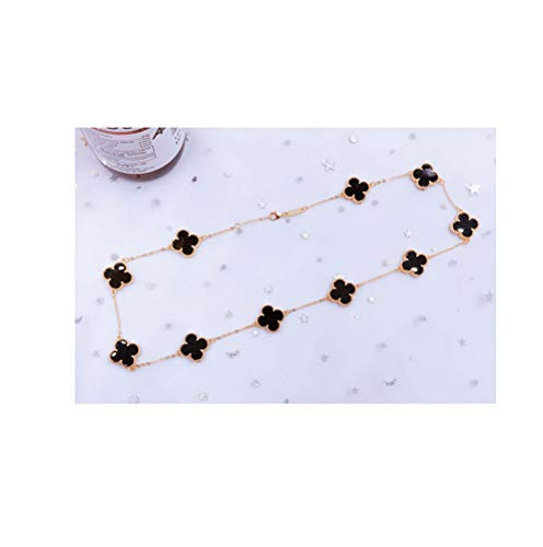 (Women Black Onyx 18K Gold Plated 10 Flower Four-Leaf Clover Necklace/Classic Fashion Leaf Pearl Clover Necklace- Shape Malachite Pendant Clavicle Chain (Black-Gold))
