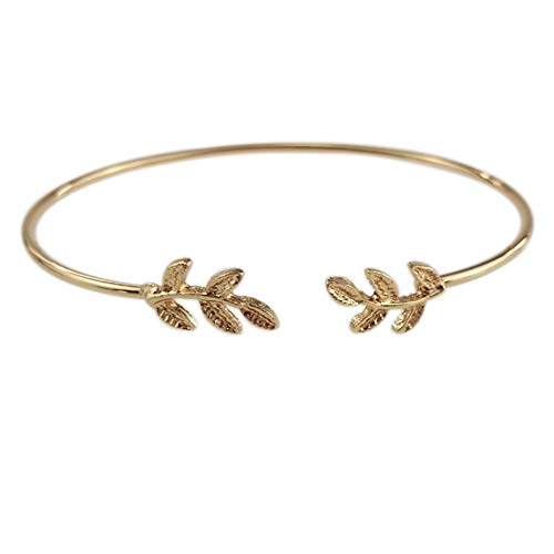 KimiMix Olive Leaf Branch Wire Bangle Open Cuff Bracelet for Women -