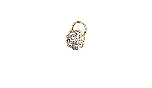 Silverraj 14K Yellow Gold Plated Fn Simulated Diamond Studded Nose Stud Pin Body Piercing Jeweley
