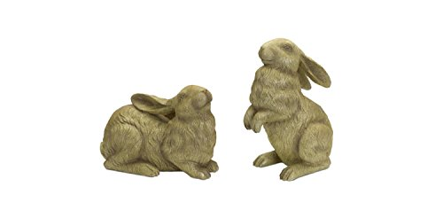 - Pack of 2 Decorative Crackle Finish Rabbits Outdoor Garden Statue Figures 9.25
