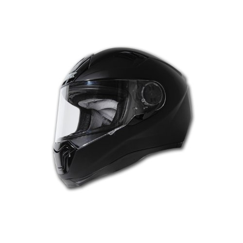Nitek Interceptor Fiberglass Full-Faced Street Helmet (Flat Black, X-Large)