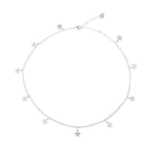 (Fremttly Hand Made Necklace Simple 14K Gold Fill/Silver Plated Delicate Dainty Star and Bead Chain Chokers Necklace Thin Heart Pendant Necklace for Womens-C-Star-SL)