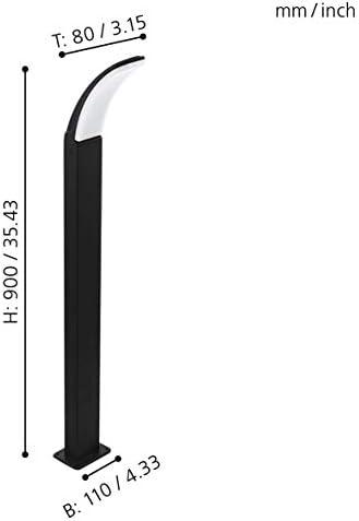 EGLO LED Außen-Stehlampe Fimicino, 1 flammige Außenleuchte, Pollerleuchte aus Alu, Kunststoff, IP44, schwarz, weiß