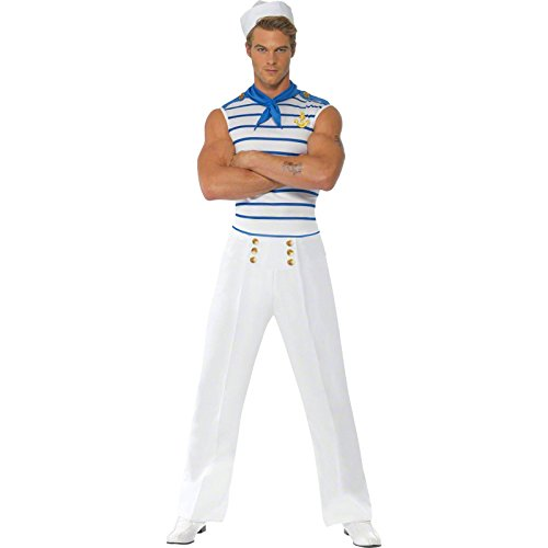 Smiffys Men's Fever Male French Sailor Costume, Top, pants and Neck Scarf, Troops, Fever, Size L, 20886
