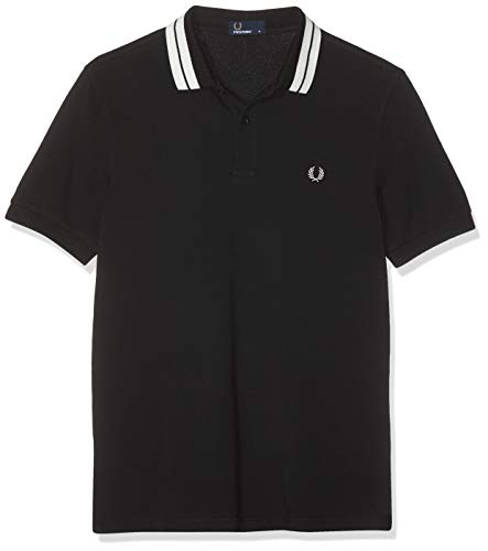 Fred Perry Men's Bold Tipped Pique Shirt, Black/White, Large