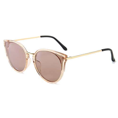 SUNGAIT Oversized Retro Vintage Cat Eye Sunglasses for Women Polarized UV400(Transparent Brown Frame/Polarized Light-Brown Lens)1969TMCKC