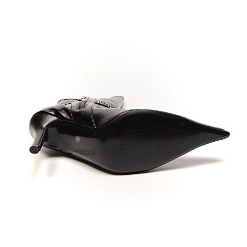 UK SB Heel 563 Faux Black UNZE Leather 6 Boots 39 Diamante Zip Double Size 1ax17vwqX