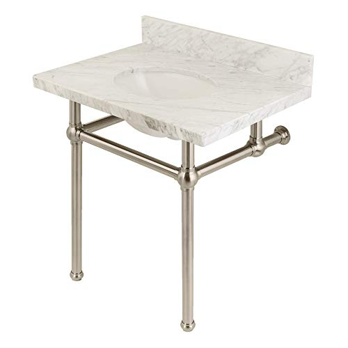 Kingston Brass KVPB3030MB8 Templeton 30X22 Carrara Marble Vanity with Sink and Brass Feet Combo Brushed -