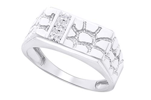 1/5 Carat Round Cut White Natural Diamond Nugget Men's Band Ring In 10k White Gold (0.20 Cttw) Ring Size-7.5