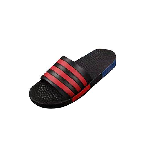 Sunfei Estate Uomo Scarpe Da Spiaggia Fiore Sandali Piatti Pantofole Antiscivolo Sandalo Rosso