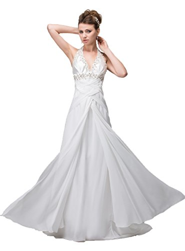 Snowskite Women's Halter Long Chiffon Beaded Beach Wedding Bridal Dress White 4