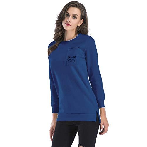 Giulogre Sudadera Mujer Azul Tops Para women Aq7rzA