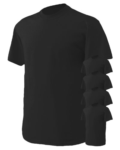 Large Black Classic T-shirt (Gildan Men's Classic Heavy Cotton T-Shirt, Black, Large. (Pack of 5))