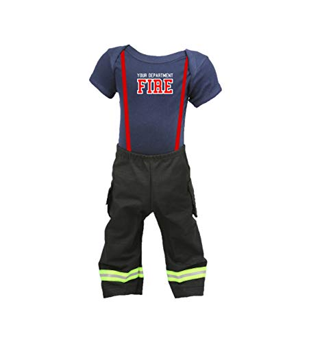 Fully Involved Stitching Personalized Firefighter Baby 2pc Black Outfit (12 -