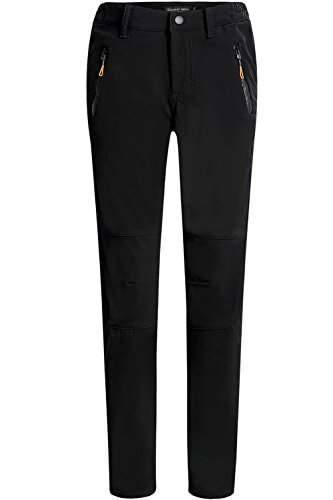 Camii Mia Women's Windproof Waterproof Sportswear Outdoor Hiking Fleece Pants (W26 x L30, Black) -
