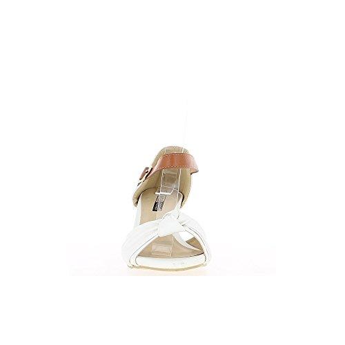 Sandales compensées blanches à talon de 6,5cm avec bride