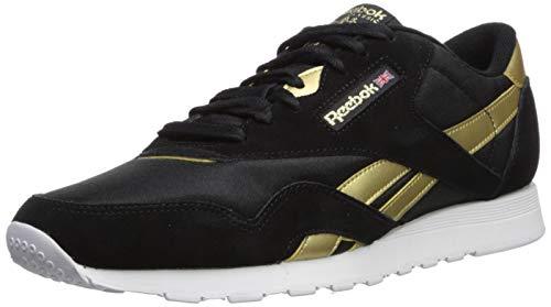 Reebok Men's Classic Nylon Sneaker, Black/Matte Gold/White, 11 M US