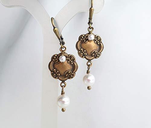 Victorian Art Nouveau Style Antique Brass White Swarovski Pearl Dangle Earrings