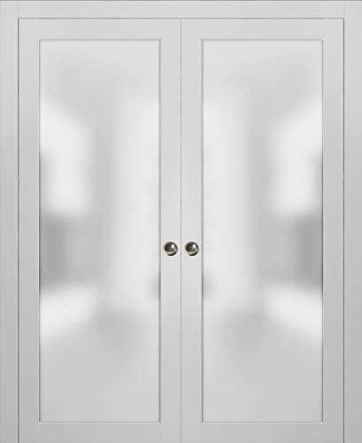 Lite Double Pocket Frosted Glass Doors 60 x 80 | Planum 2102 White Silk | Pocket Frame Trims Pulls Rail Hardware | Bedroom Bathroom Solid Wooded Interior Sliding Door Opaque Glass |