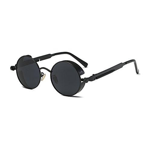 Round Steampunk Sunglasses Polarized for Women and Men Steam Punk Circle Rose Gold Metal Frame Coating Sun -