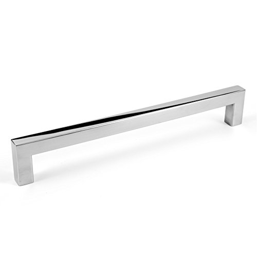 (Square Bar Pull Cabinet Handle Polished Chrome Stainless Steel 12mm (8