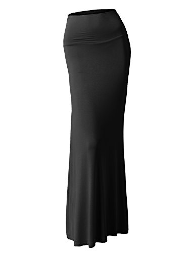 H2H Women Lightweight Soft Fabric Solid Flared Maxi Long Skirts BLACK US XL/Asia XL - Wool Lightweight Pencil Skirt