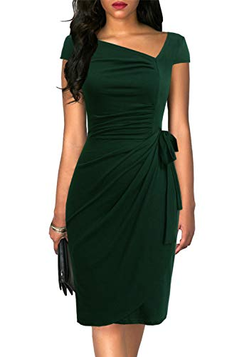 Liyinxi Vintage 1950s Cap Sleeves Slim Casual Office Formal Business Party Stretchy Green Cocktail Green Wrap Dress (XL, 8022-Green)