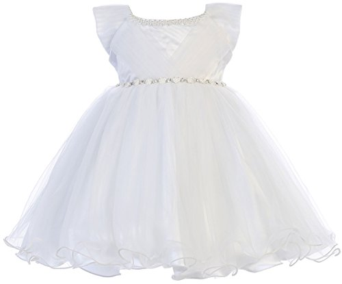 Little Baby Girls Adorable Pearl Neckline Jewels Tulle Flower Girl Dress White L (Little Pearl Jewels)