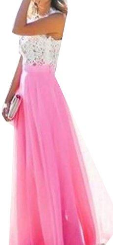 Floral BLTR Women Retro Evening Party Chiffon Red Maxi Rose Bridesmaid Lace Dress Wedding ECaqxgaw
