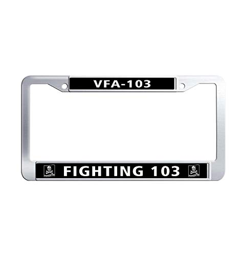 Toanovelty US Navy VFA-103 Strike Fighter Squadron 103 License Plate Frame, Waterproof Car tag Frame, Stainless Steel Car License Plate Holder 6' x 12' in -