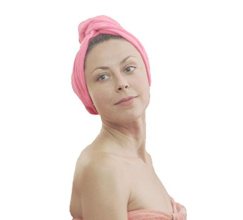 SimplePro Hair Drying Towels Wrap Head wrap towel with Button blue purple yellow and red Head turban