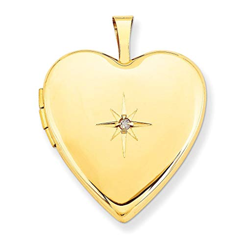 Pori Jewelers 14K Solid Yellow Gold Heart Locket Pendants- Perfect for Holding Photos, Messages, sentimental's-Multiple Styles Available (Diamond Accent Starburst (25MM)) ()