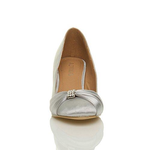 vestir para Silver mujer Zapatos Ajvani de plateado Satin tqgCEw
