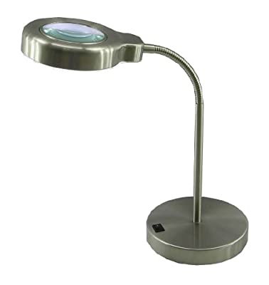 "Normande Lighting Daylight Desk Lamp w/ Magnifier. 14"" in Height with Brushed Steel Finish"