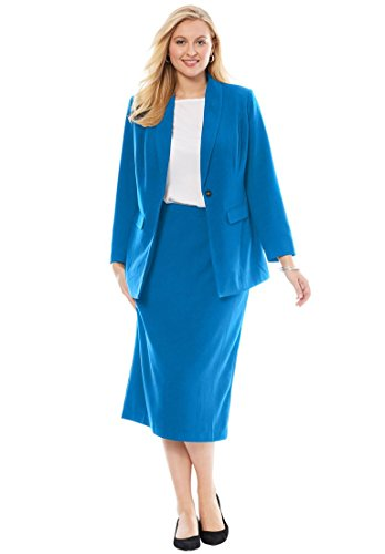 Jessica London Women's Plus Size 2-Piece Single-Breasted Skirt Suit Bright