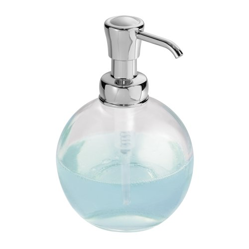 iDesign York Glass Soap Dispenser Pump for Body Moisturizer, Liquid Hand Soap, Sanitizer or Aromatherapy Lotion - Clear/Chrome