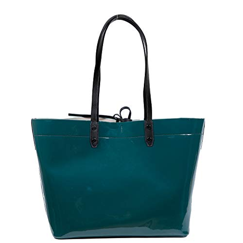 Large Hobo Leather Patent (PACO TORA Tote Bag Patent Leather Handbags Top Handle Shoulder Bag - Shopper Collection (Green))