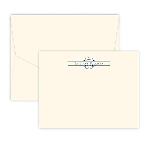 Personalized Arabesque Raised Ink Stationery Correspondence Card (Ivory)