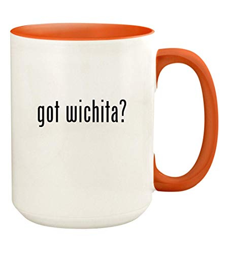 got wichita? - 15oz Ceramic Colored Handle and Inside Coffee Mug Cup, Orange ()