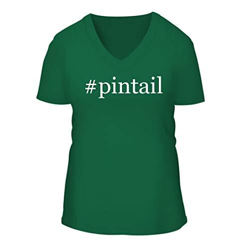 (#Pintail - A Nice Hashtag Women's Short Sleeve V-Neck T-Shirt Shirt, Green, Large)