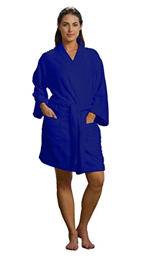 robesale Thigh Length Adult Terry Cotton Bathrobes Cover up, Navy Robe, XX Large