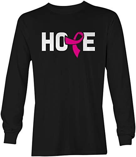Tcombo Hope Pink Ribbon - Breast Cancer Awareness Unisex Long Sleeve Shirt (Black, Medium) Cancer Awareness Long Sleeve