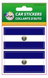 y Flag Set of Small Automobile Bumper Stickers Decals ... 1 3/8 X 2 3/4 Inches ... New in Package (El Salvador Emblem)