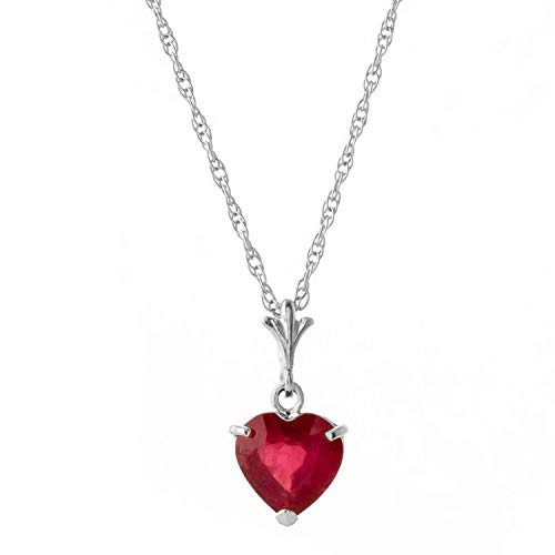 "Galaxy Gold 1.45 Carat High Polished 14k 14"" Solid White Gold Pendant Necklace with Heart Shape Natural Ruby - Heat Treated"